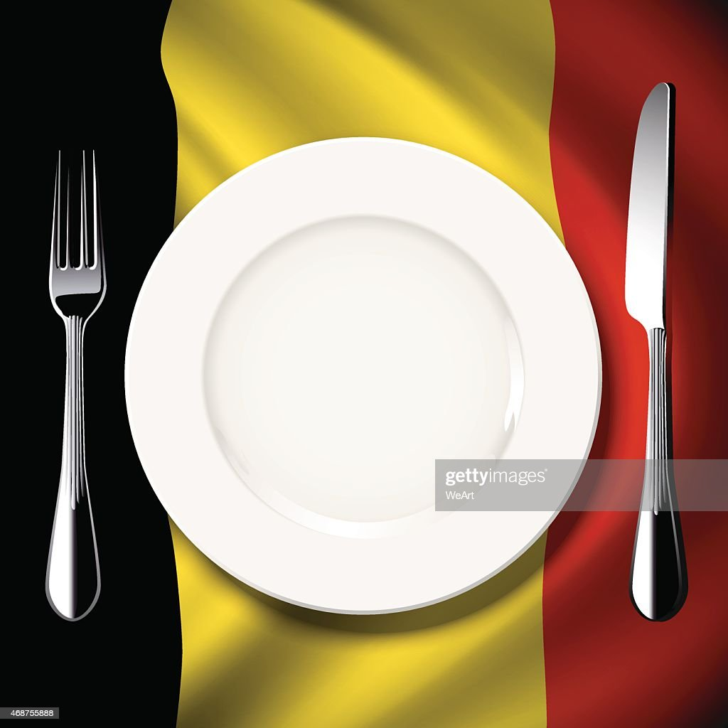 Vector  table setting on Belgium flag background