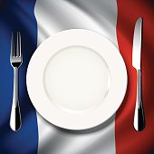 Vector  table setting on France flag background