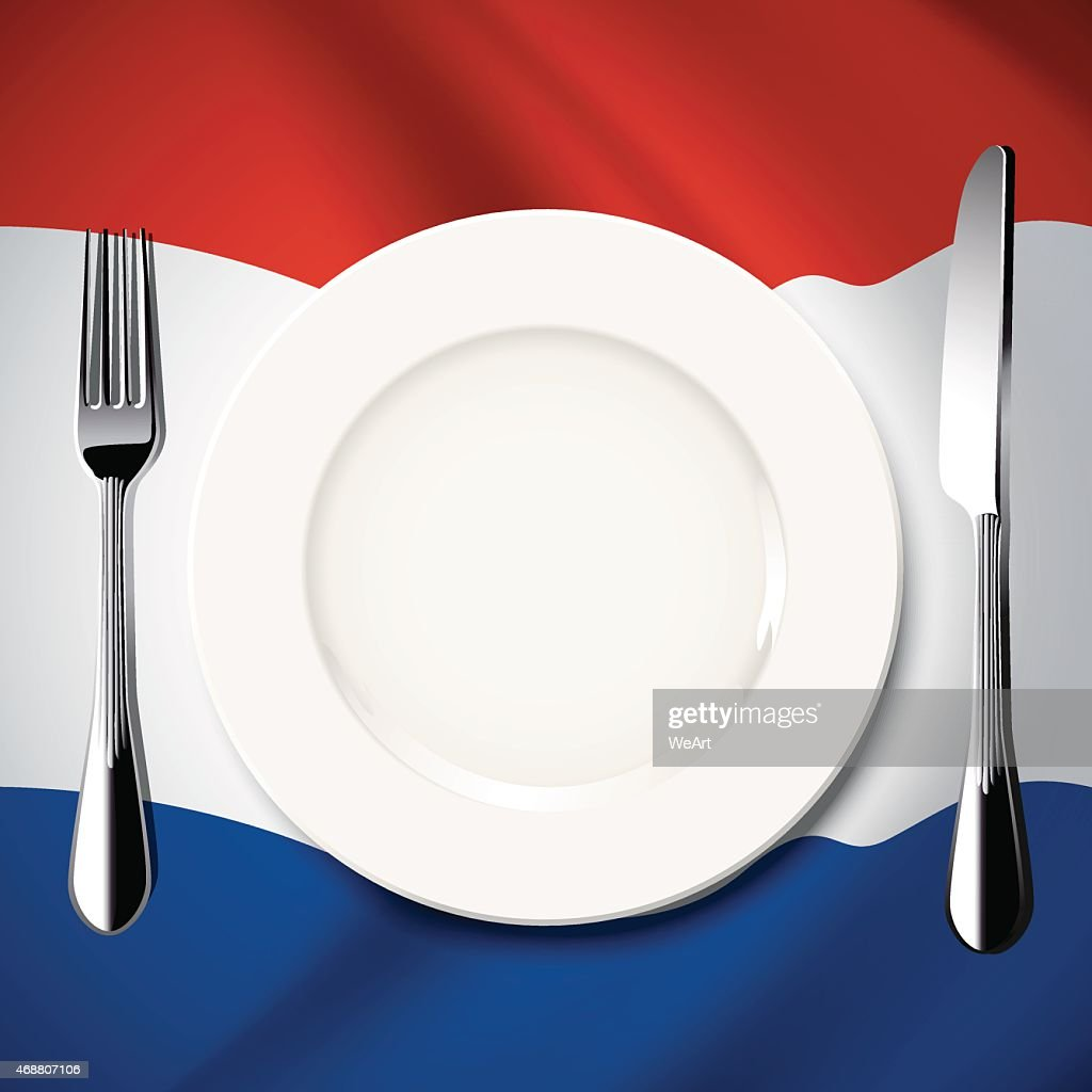 Vector  table setting on Netherlands flag background