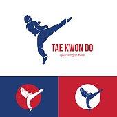 Vector taekwondo logo template. Martial arts badge.