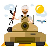 Vector Tankman. The conflict in the Middle East. Flat style