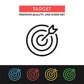 Vector target icon. Target and arrow. Premium quality graphic design. Modern signs, outline symbols collection, simple thin line icons set