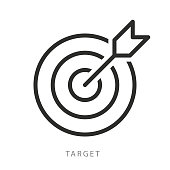 Vector target icon. Target and arrow. Premium quality graphic design. Modern signs, outline symbols collection, simple thin line icons set stock illustration