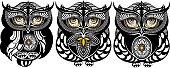 Vector Tattoo Art Owls