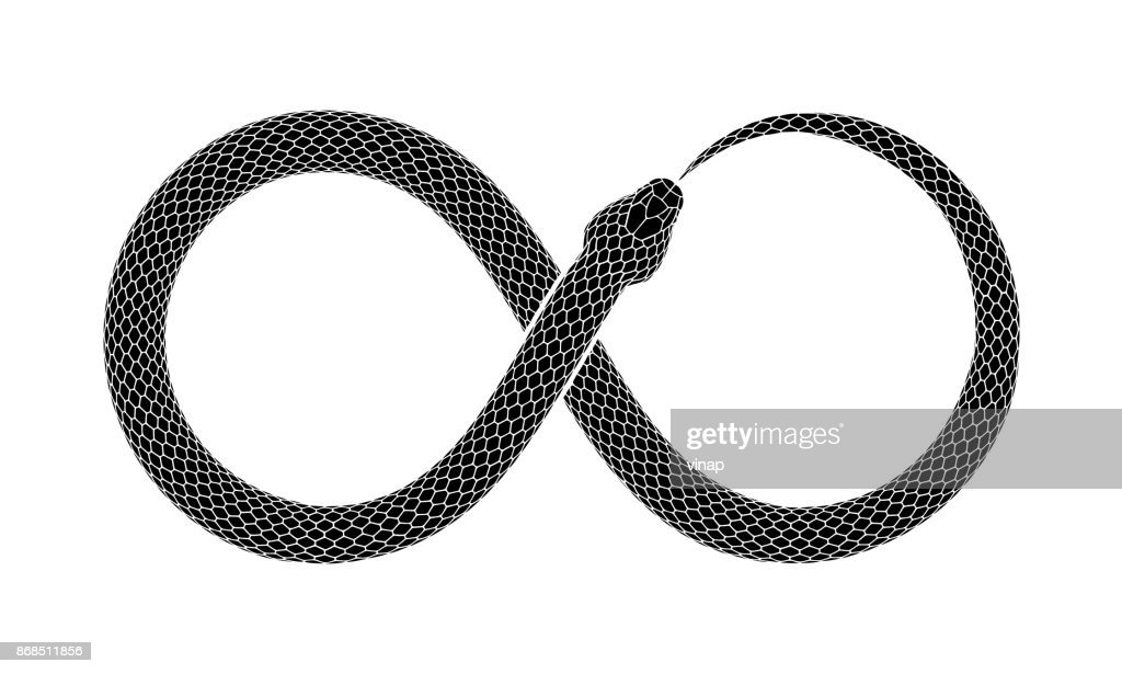 Vector tattoo design of Snake bites it's tail in the form of a sign of infinity.