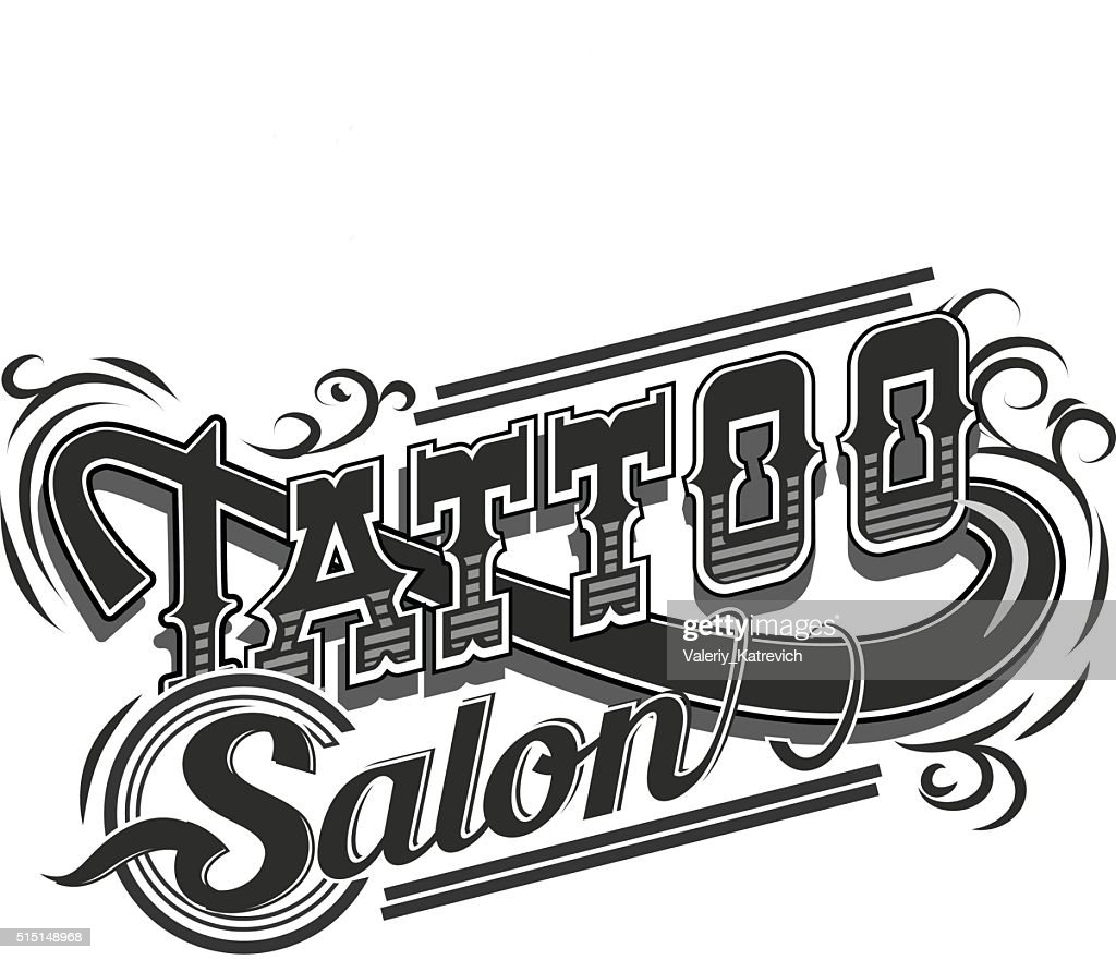 Vector tattoo salon logo  on white background. Cool retro styled