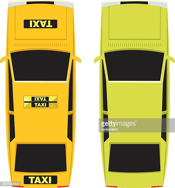 vector taxi and personal car - yellow taxi stock illustrations, clip art, cartoons, & icons