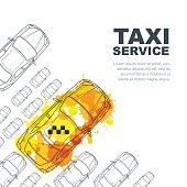 Vector taxi service banner, flyer, poster design template.
