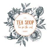 Vector tea shop illustration. Tea circle frame illustration. Menu label with teapot, cup, tea leaves and teaspoon. Linear graphic.