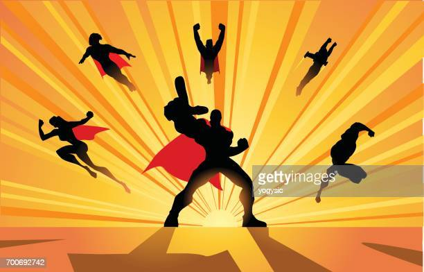 vector team of superheroes charging forward silhouette - action movie stock illustrations