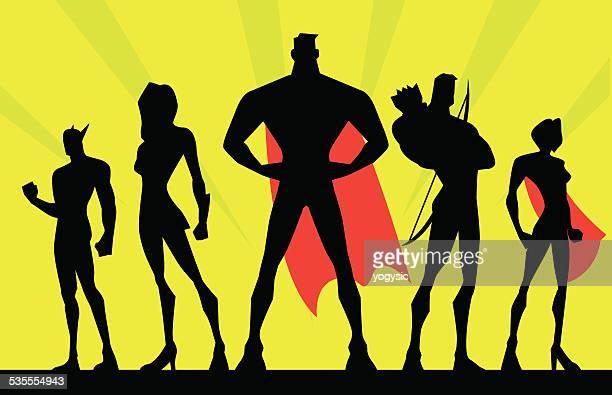 Vektor-Team Superhelden-Silhouette