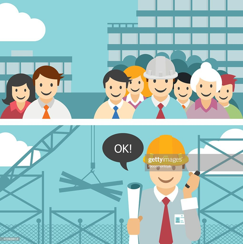 Vector teamwork and engineer : stock illustration