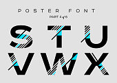 Vector Techno Font with Digital Glitch Text Effect. Minimal Geometric Typography for Music Poster, Fashion Show, Advertising. Modern Cyber Type in Futuristic Style. Trendy Urban Typeset.