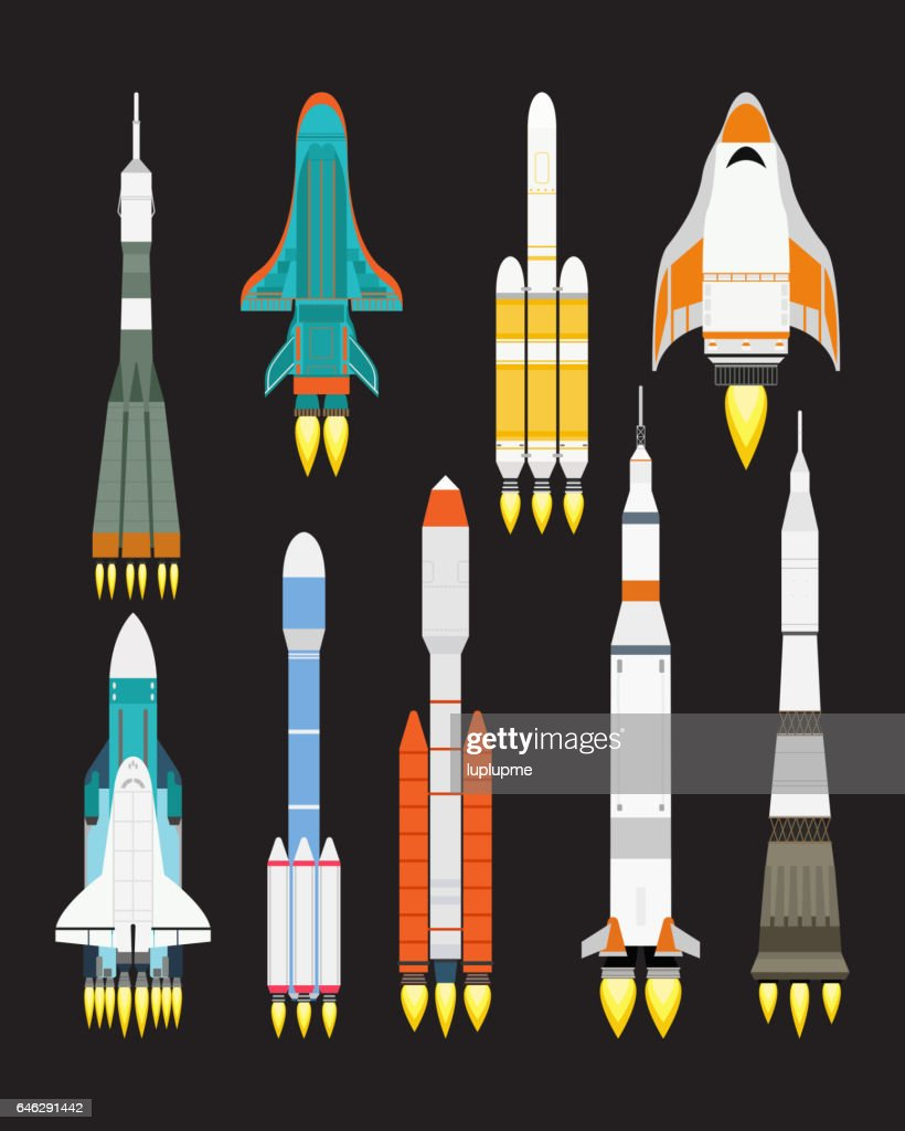 Vector technology ship rocket cartoon design for startup innovation product and cosmos fantasy space launch graphic exploration