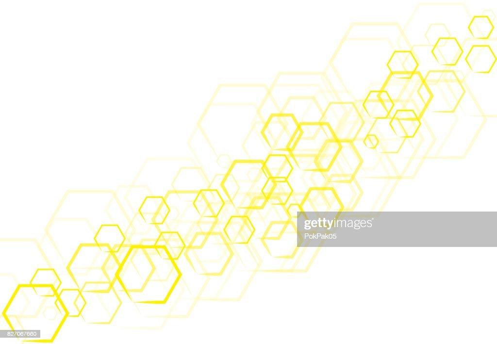 Vektor Technologie Gelb Sechseckige Form Die Sich überlappen ...