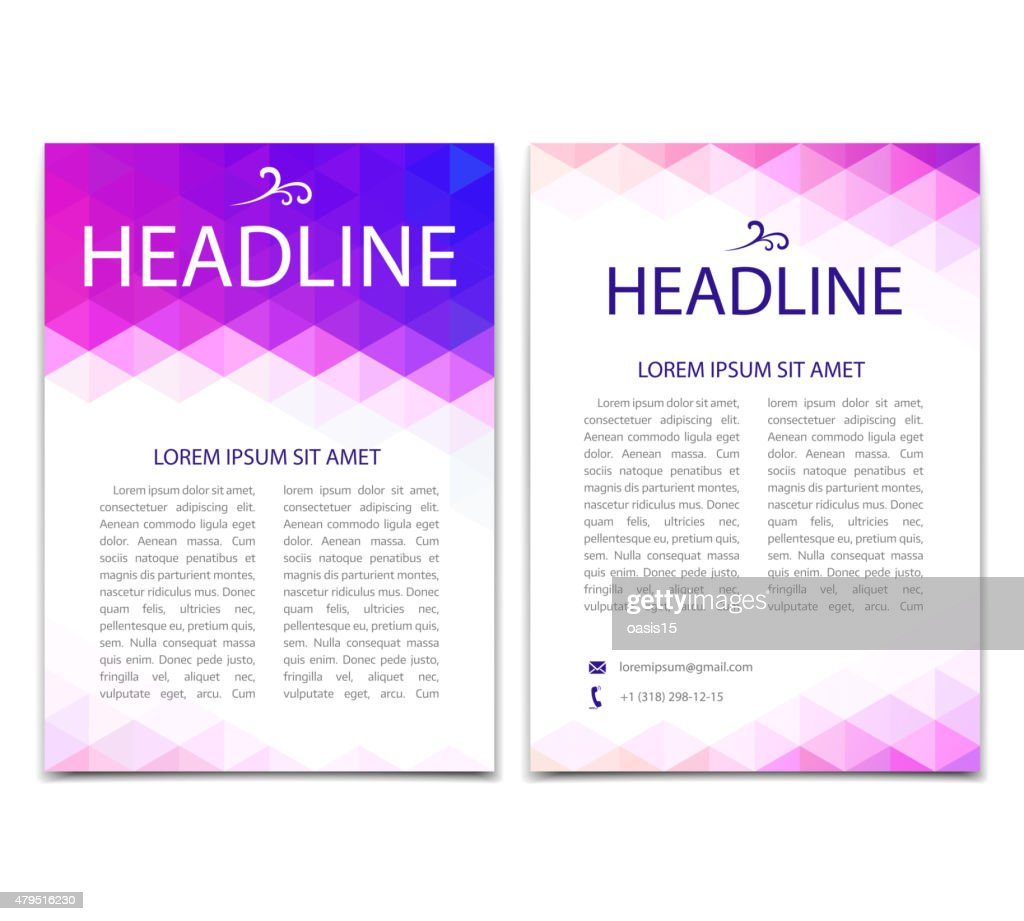Vector template design, flyer, poster. Abstract colorful geometric background.