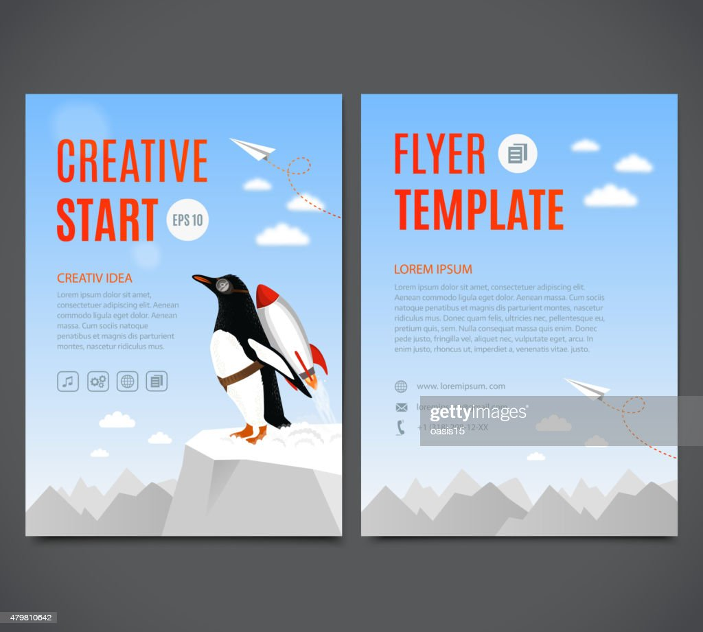 Vector template design flyer, poster. Creative start and Creative idea
