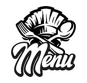 Vector template for a menu with calligraphic lettering.