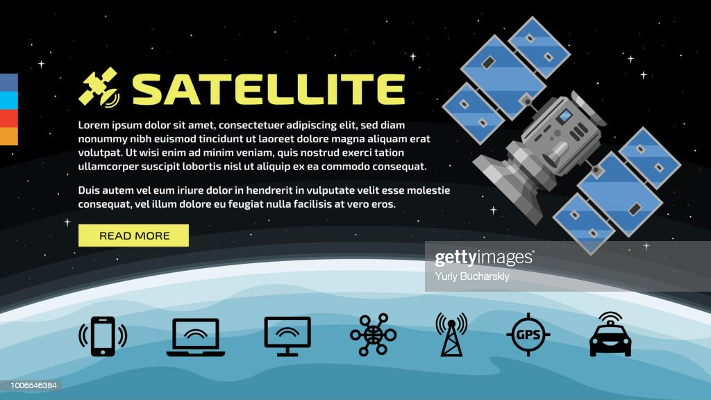 Vector template of flat satellite in space with communication icons, earth, text and button on a stars background.