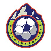 vector template of icon with mountains on theme football