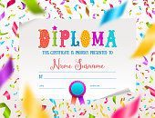 Vector template of kids diploma