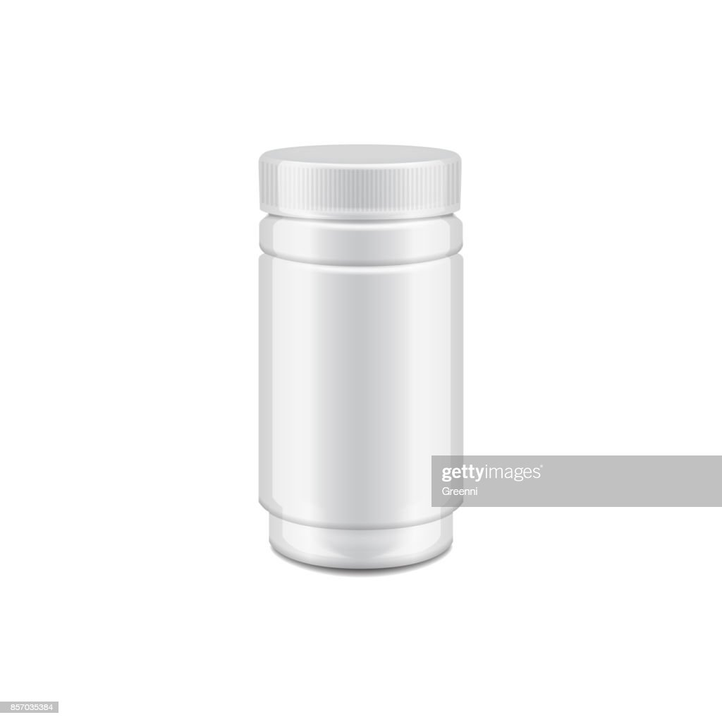Vector Template Of White Plastic Bottle With Screw Cap For Medicine Pills Tabs