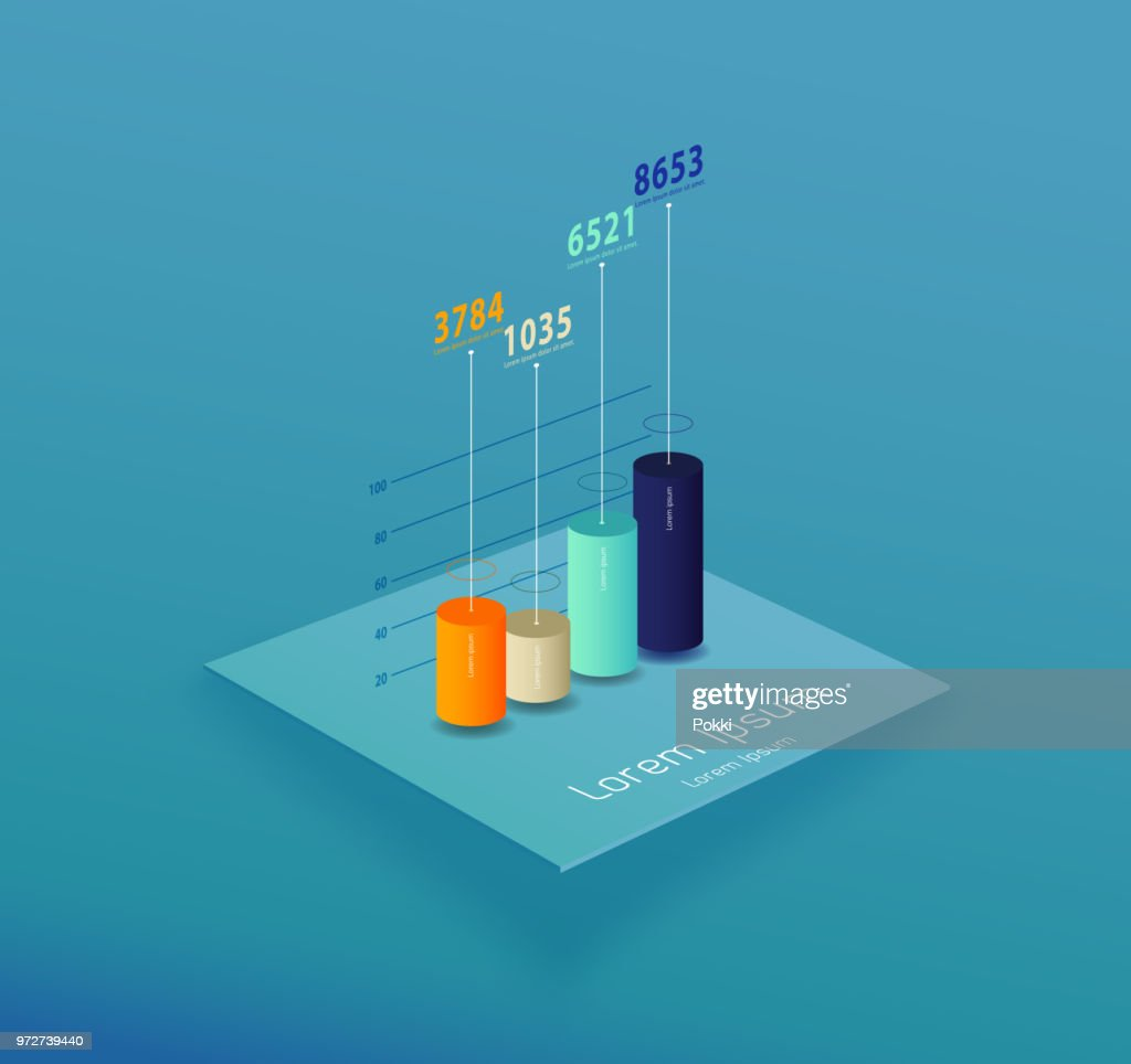 Vector template with colorful chart and place for your data.