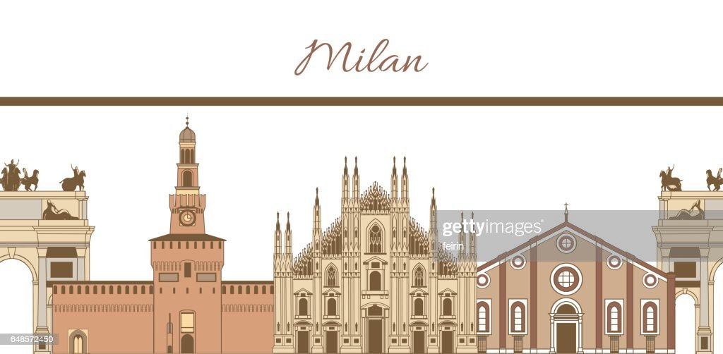 vector template with composition of famous landmarks of Milan