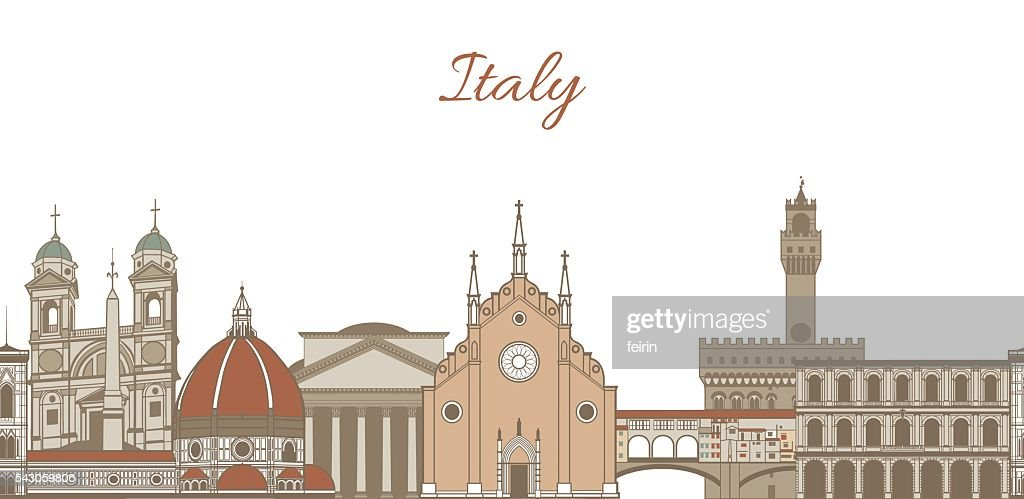 vector template with famous landmarks of Italy