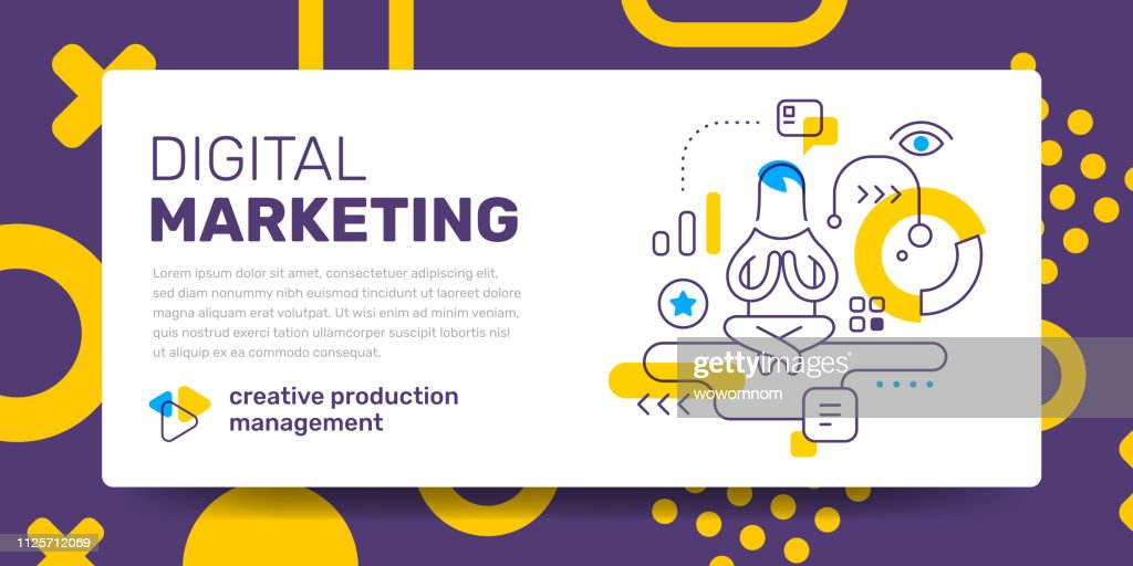 Vector template with illustration of flying guru man and icon on white background with text digital marketing.