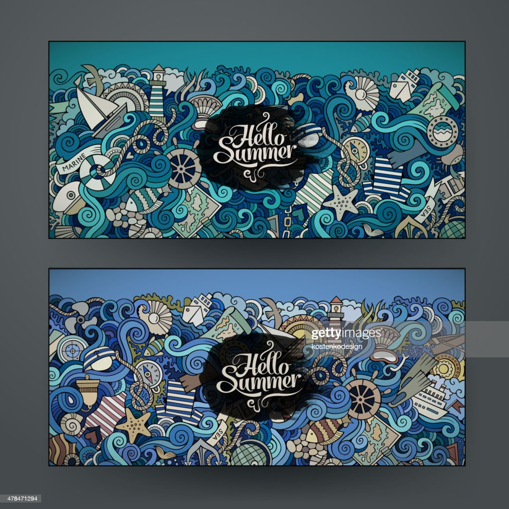 vector templates set with doodles marine them