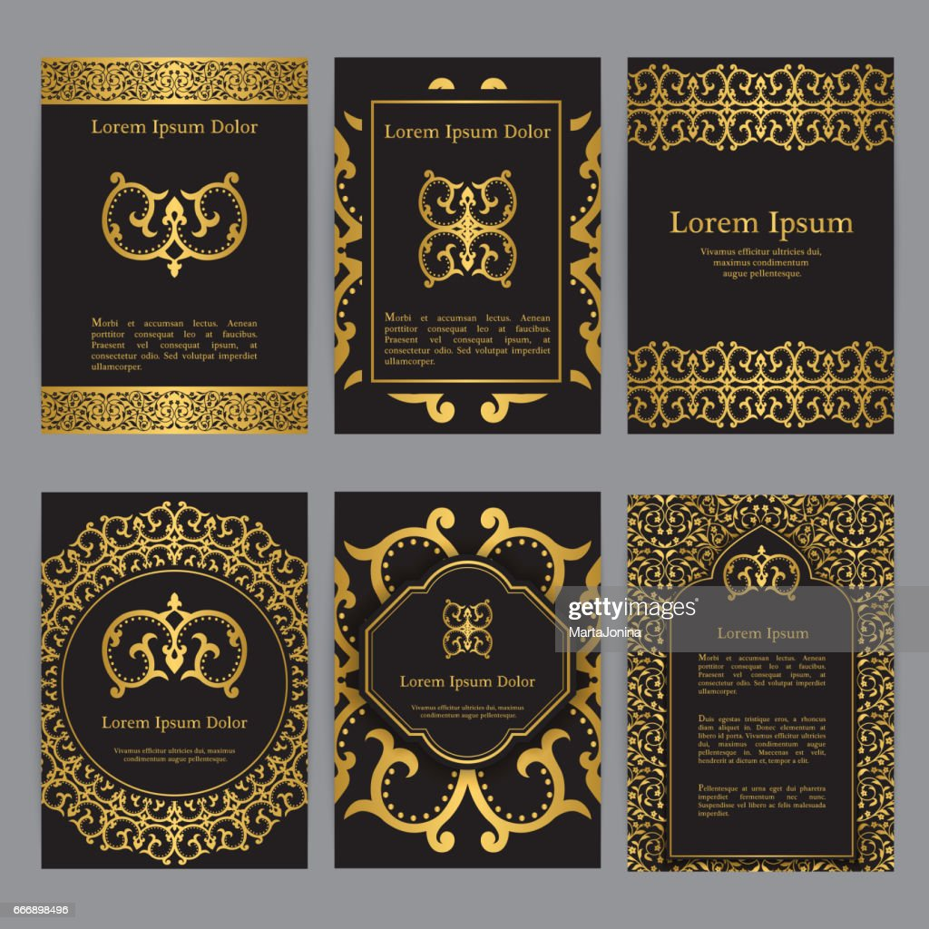 Vector templates with mandala in black, gold colors