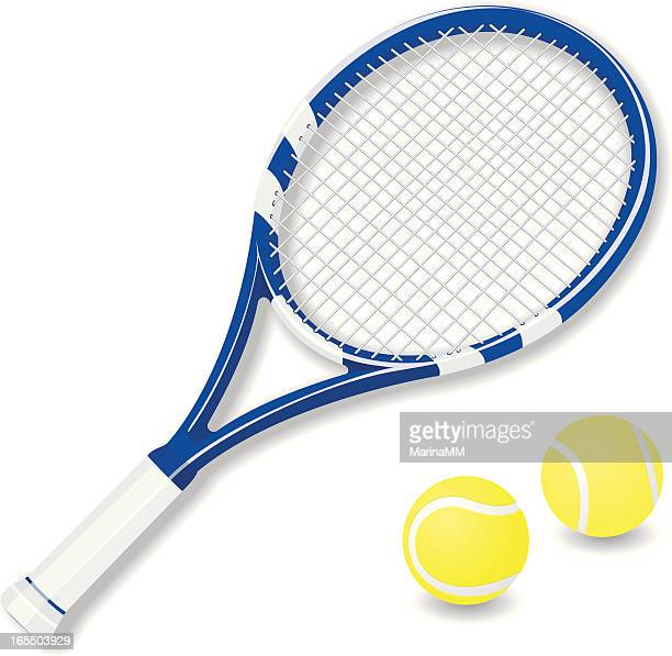 ilustraciones, imágenes clip art, dibujos animados e iconos de stock de vector raqueta de tenis y pelotas - raqueta de tenis