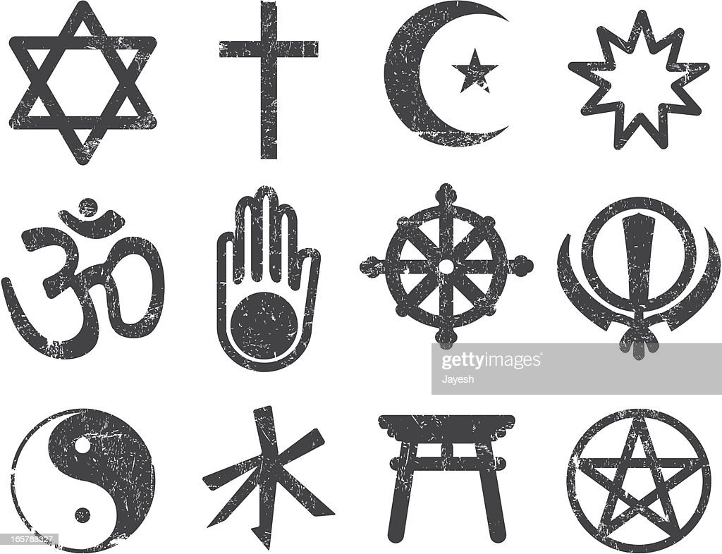 Vector Textured Religion Icon Set