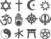 Vector Textured Religion Icon Set