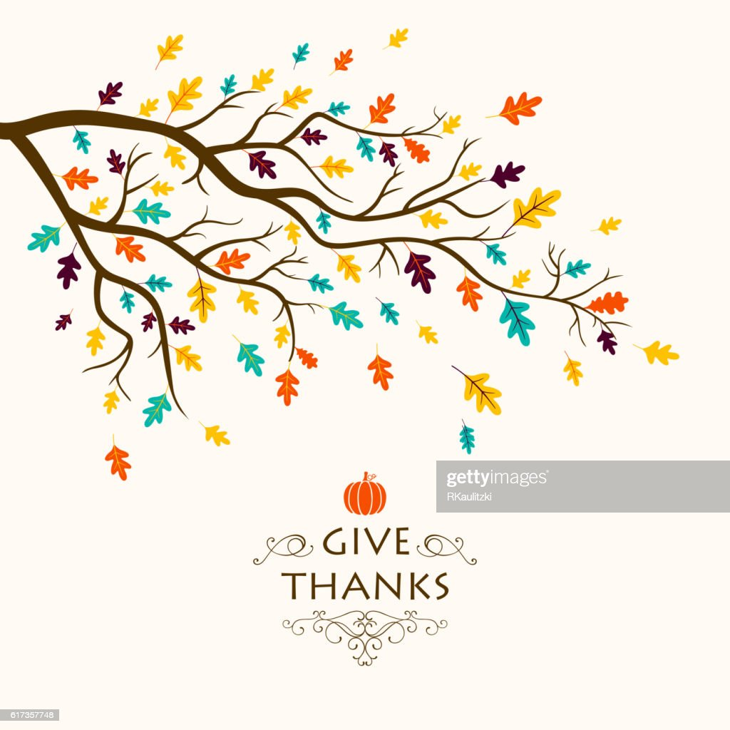 Vector Thanksgiving Design with Autumnal Branch