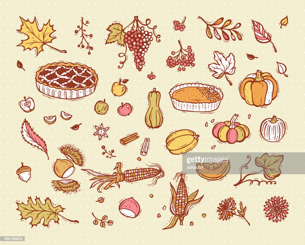 Vector Thanksgiving Icon Set Food Fruits Vegetables And Berries