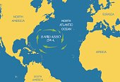 Vector. The Sargasso sea on the world map.
