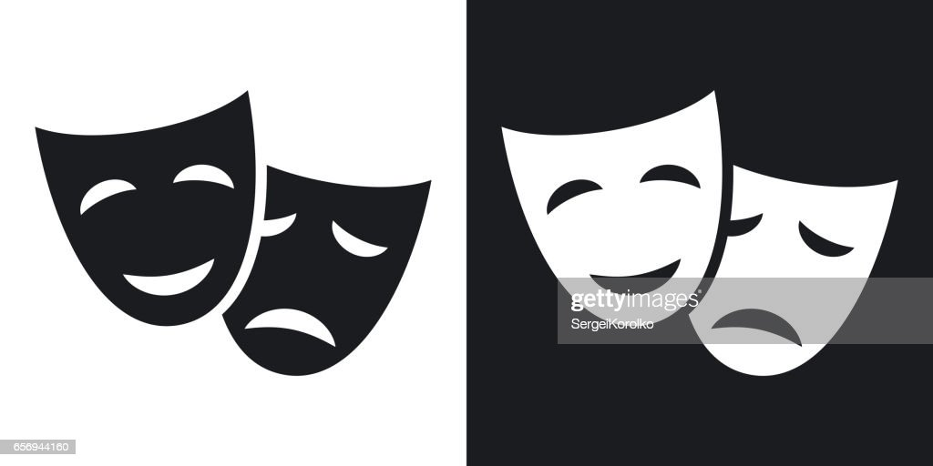 Vector theatrical masks icon. Two-tone version