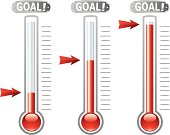 Vector thermometers exemplifying various financial goals