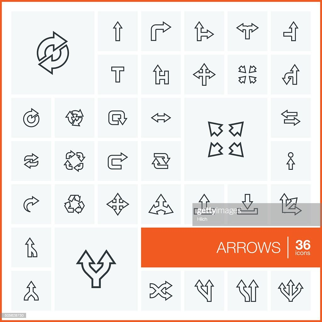 Vector thin line arrows icons set and graphic design elements