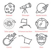Vector thin line cartoon icons with space theme