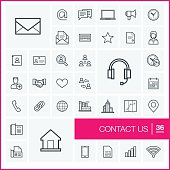 Vector thin line communication icons set and graphic design elements