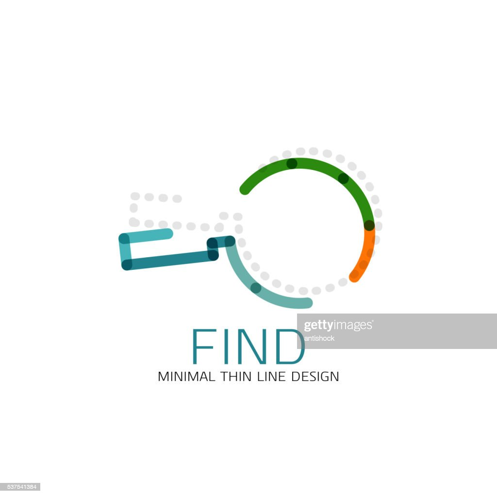 Vector thin line design icon magnifying glass, search and find