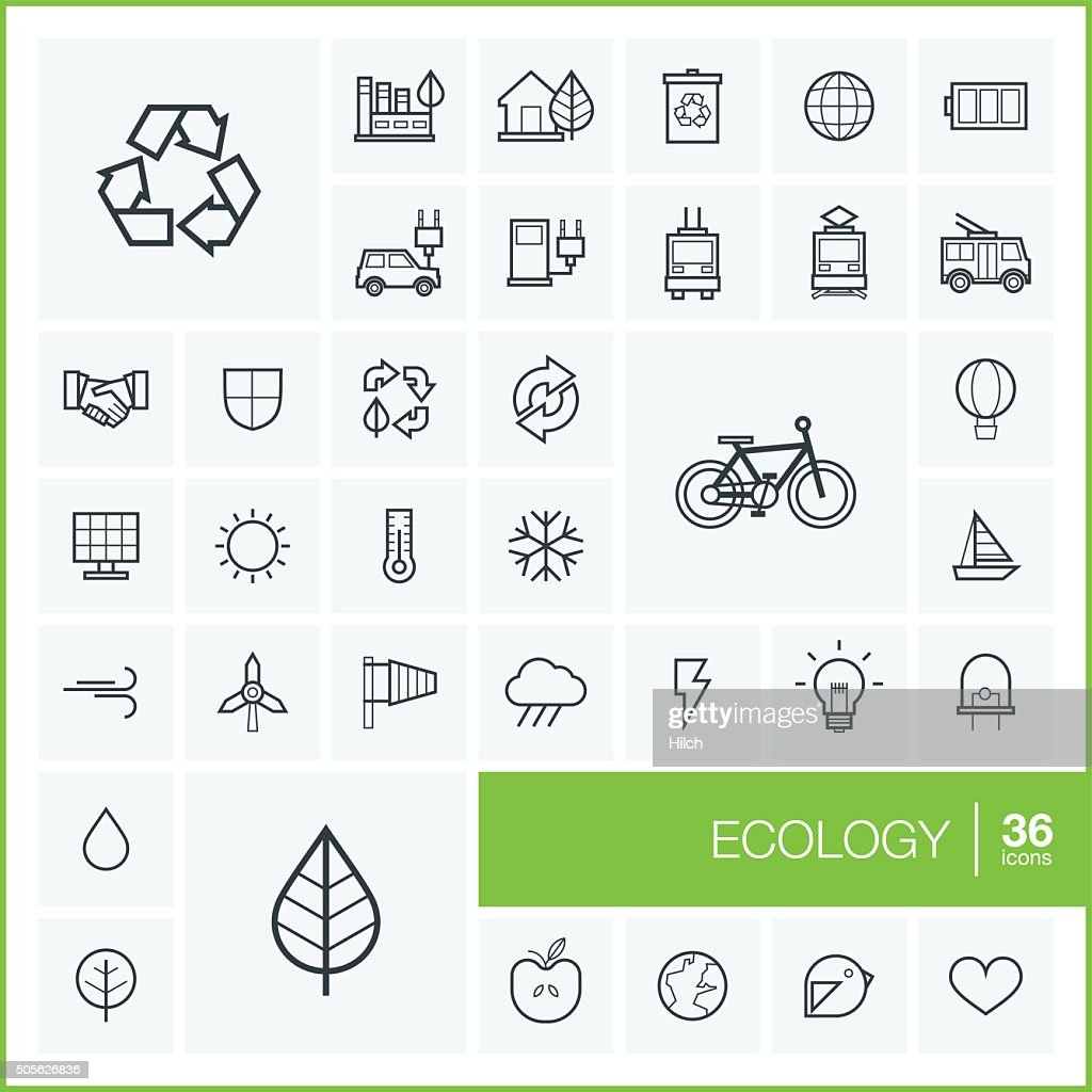 Vector thin line ecology icons set and graphic design elements