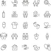 vector thin line family and children icon set