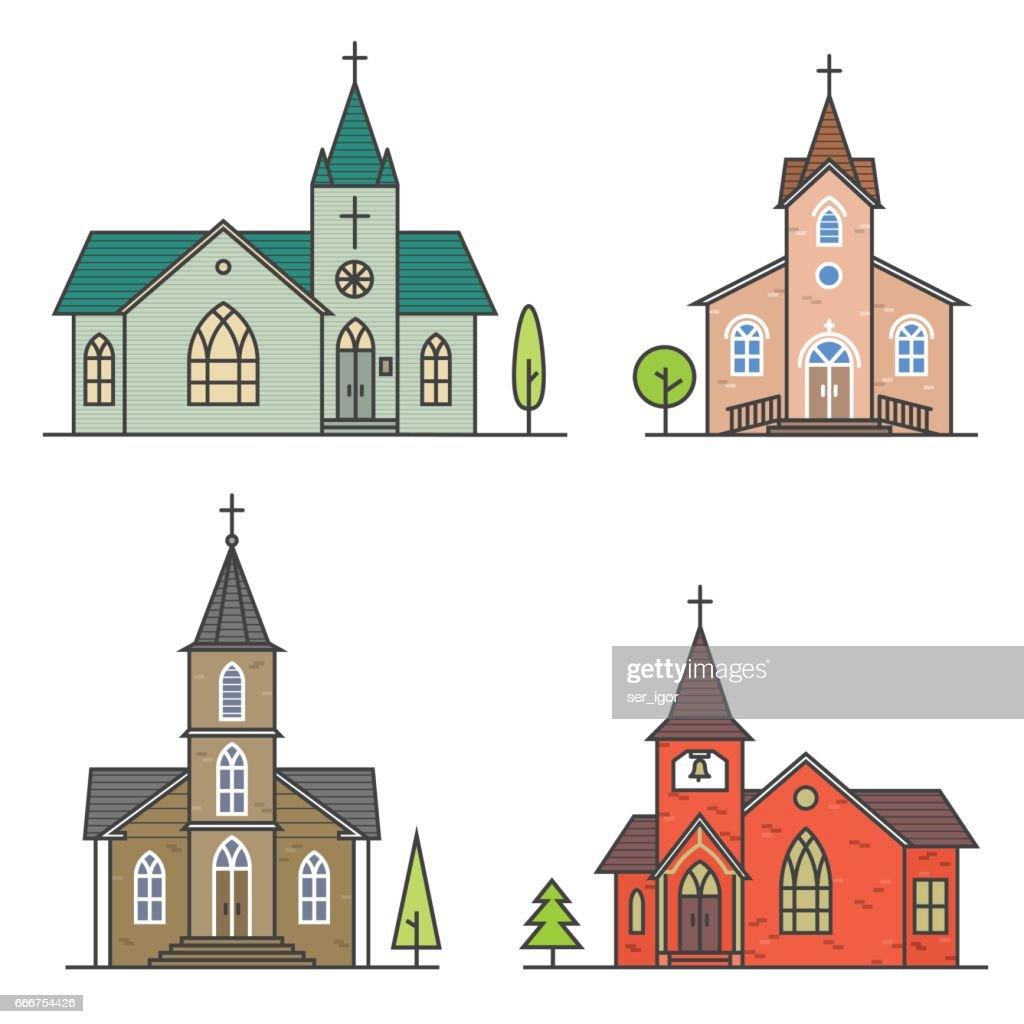 Vector thin line icon church