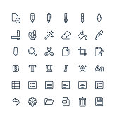 Vector thin line icons set and graphic design elements. Illustration with text edit, graphic tools outline symbols