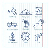 Vector thin line icons set for military infographics, mobile gam