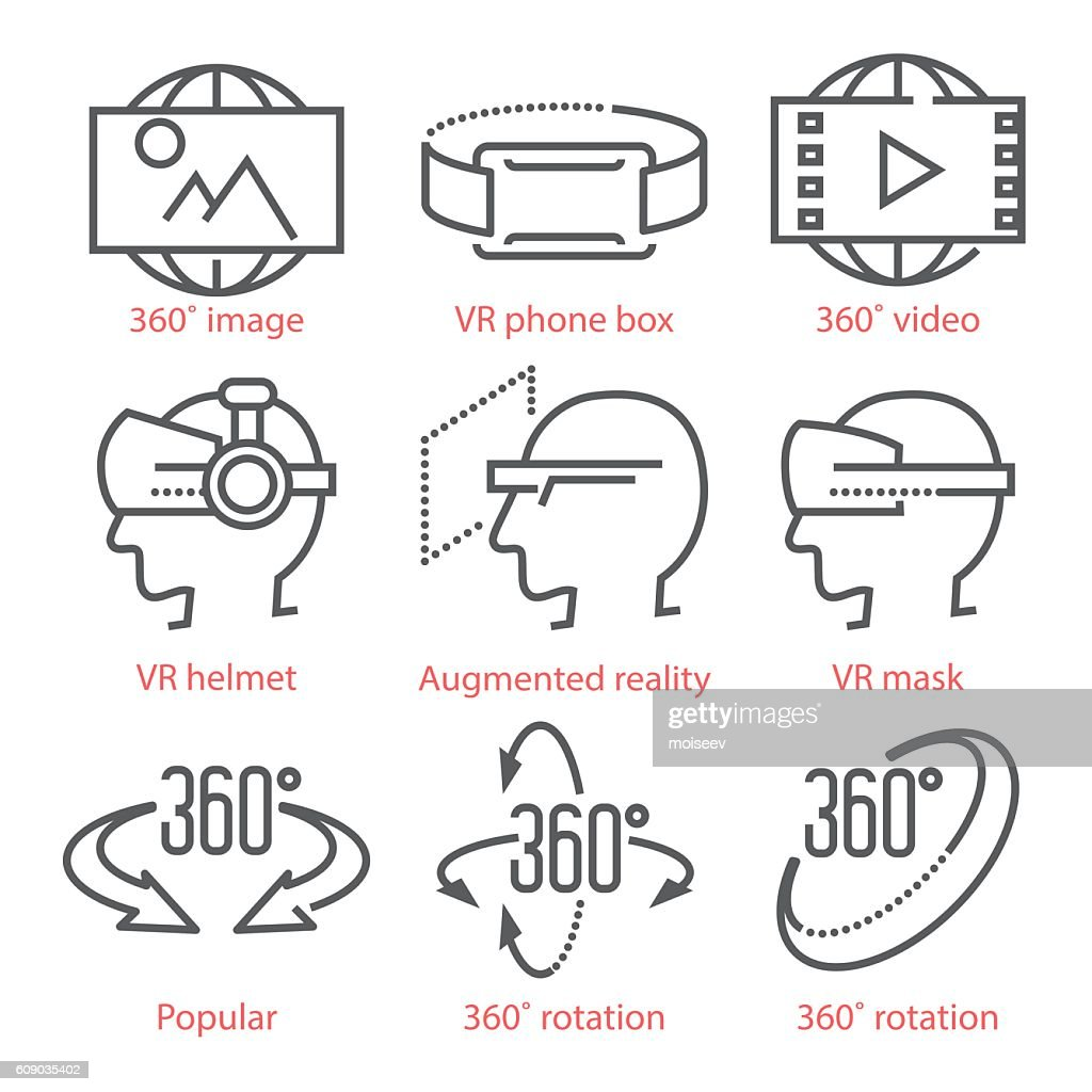 Vector thin line icons set with 360 Degree View Icons